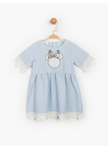 Minnie Mouse  Güpür Ve Pul Detaylı Elbise 15496 Mavi